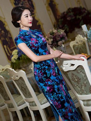 Blue Flower&Leaves Long Cheongsam Dress - Zebrant