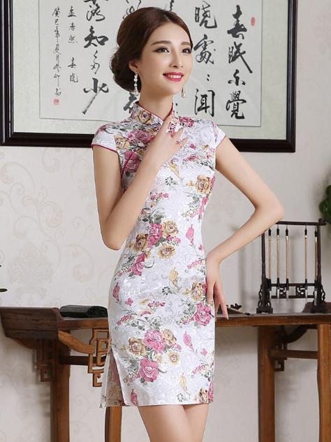 Traditional Chinese Short Dress with Floral Print - Zebrant