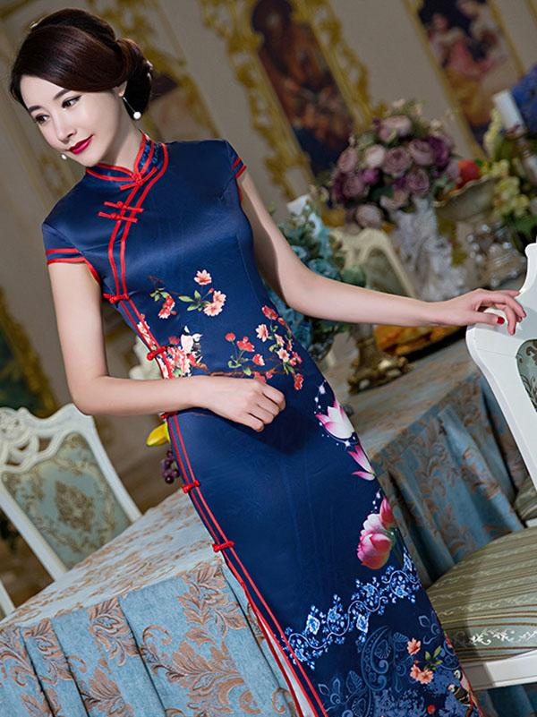 Blossom Lotus Long Cheongsam Dress - Zebrant