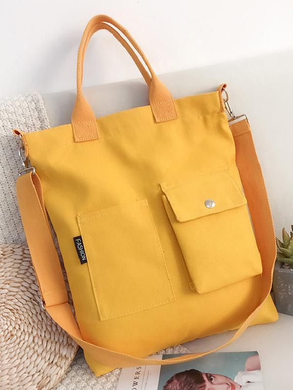 3 Colors With-pockets Canvas Handbag - Zebrant
