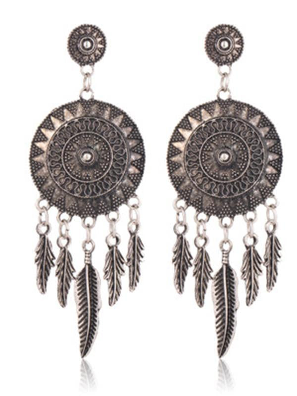 Original Feather Sun Alloy Earring - Zebrant