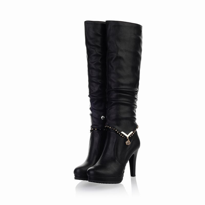 Fashion Solid Color Knight Boots