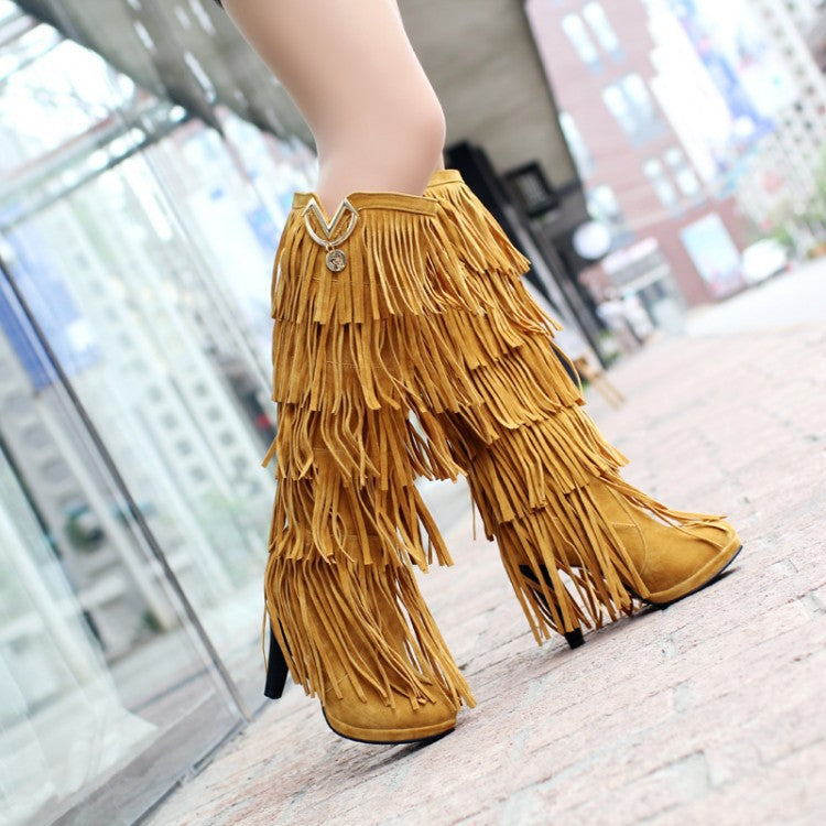 Lady Multi-layer Tassel High Boots Uggs - Zebrant