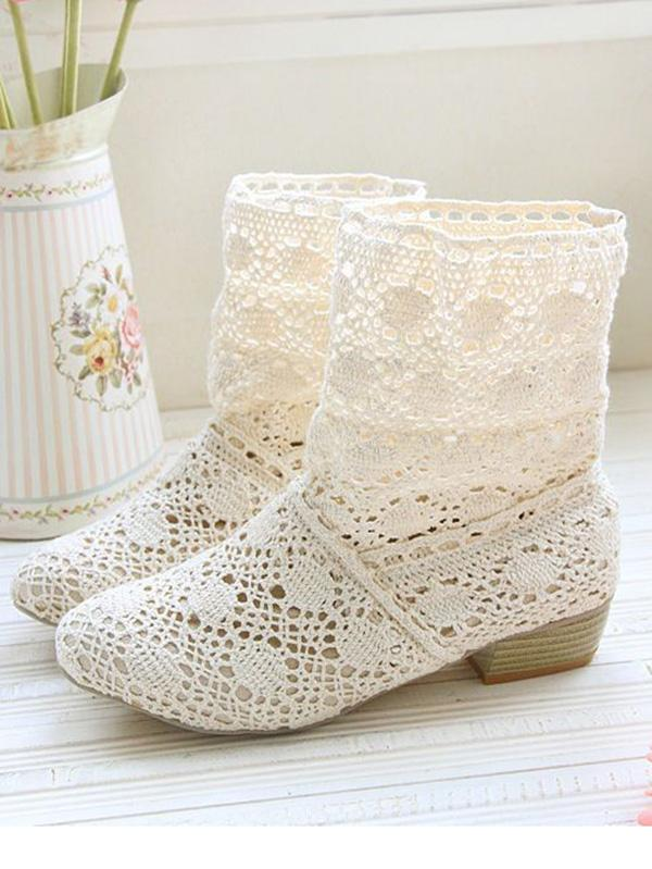 Fashion Hollow Mid-Heel Boots Shoes - Zebrant