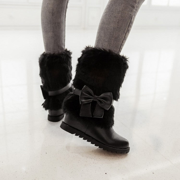 Fashion Bow Slope Intense Plush Warm Snow Boots Uggs - Zebrant