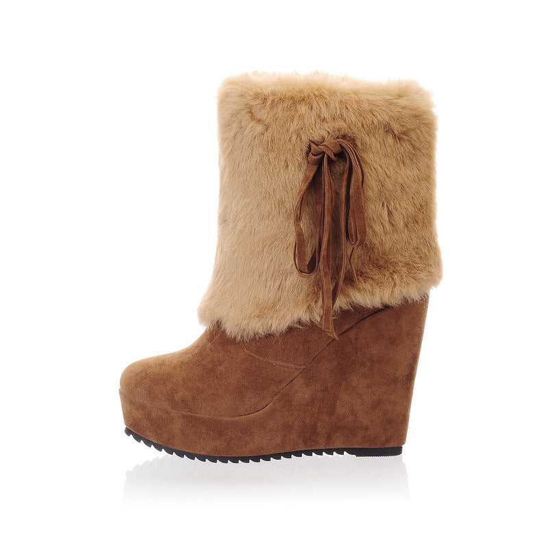 Fashion Artificial Rabbit Fur Uggs Boots - Zebrant
