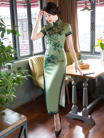 Green Peony Flower Side Split Long Cheongsam - Zebrant