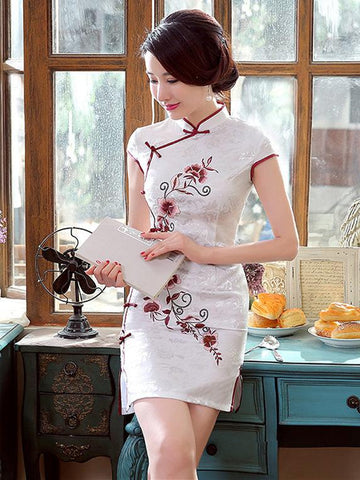 Jacquard Embroidered Short Cheongsams Dress - Zebrant