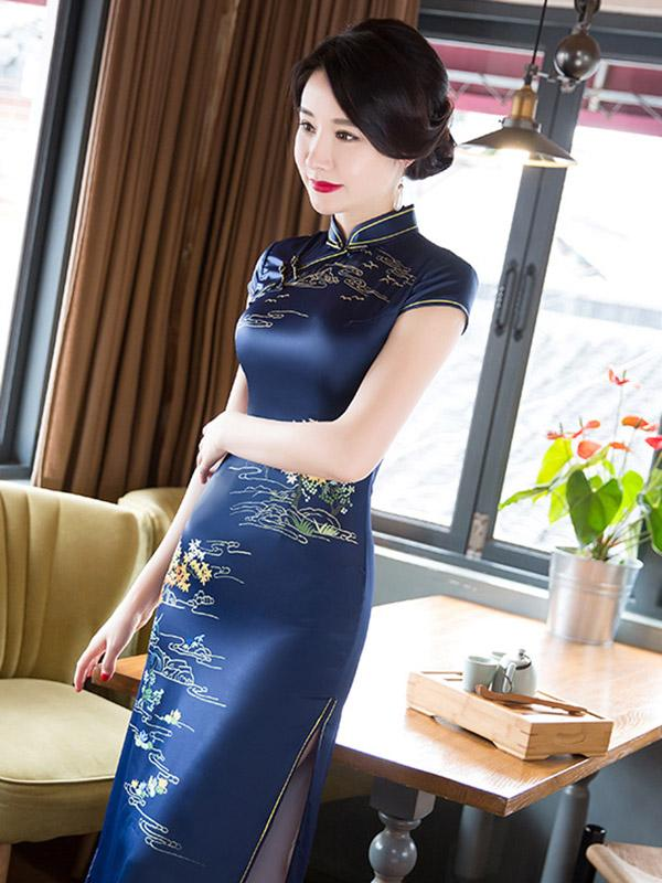 Navy Blue Printed Stand-collar Long Cheongsam - Zebrant