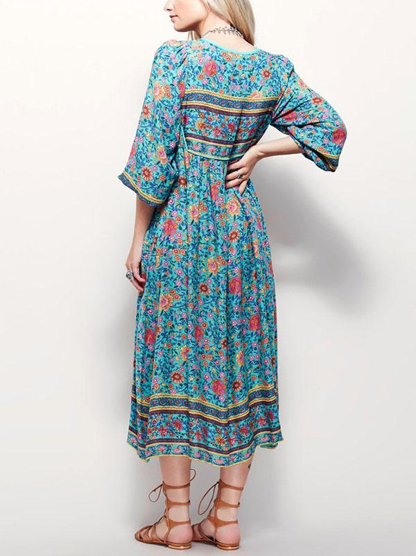 Middle Size Floral Print Dress with Laces