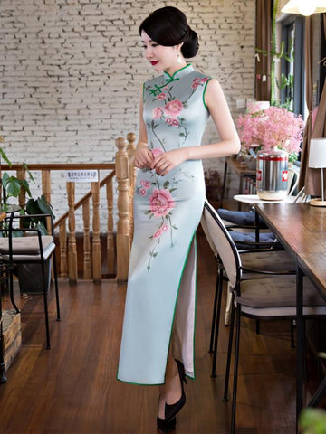 Flower Print Side Split Long Cheongsam