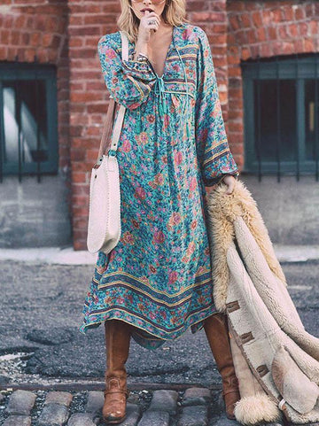 Romantic Blue Floral 3/4 Sleeve Bohemia Dress Maxi Dress - Zebrant