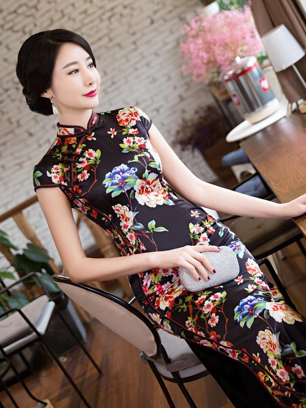 Black Floral Long Cheongsam Dress - Zebrant
