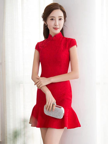 Red Lace Mermaid Short Cheongsam Dress - Zebrant
