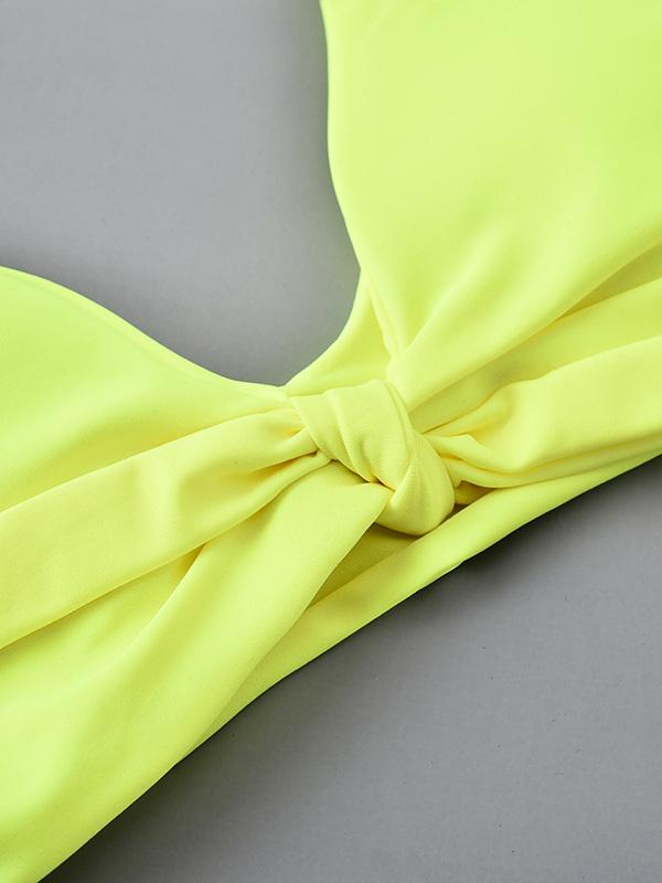 Sexy V-Neck Knotted Solid Color Split Type Bikini Swimsuit - Zebrant