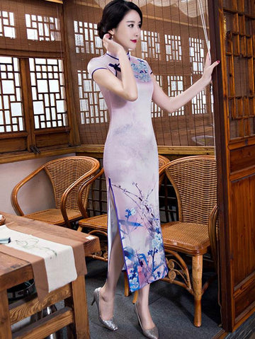 Vintage Purple Print Stand Collar Long Cheongsam Dress - Zebrant