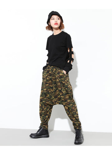 Casual Drop-crotch Camouflage Harem Pants