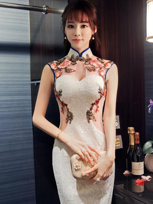 Chinese Oriental Style Laced White Evening Dress - Zebrant