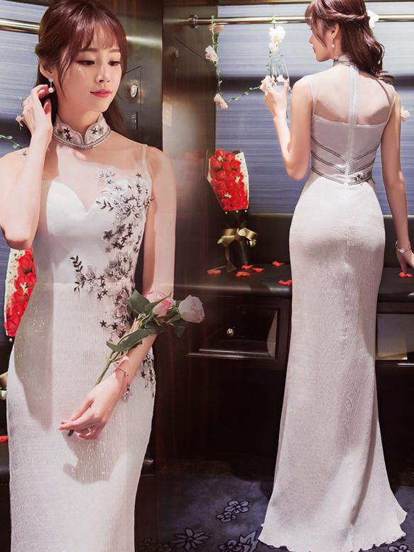 White Sequined Long Cheongsam Evening Dress - Zebrant