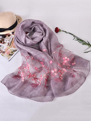 Woman Casual Shawl Scarf with Floral Print, Seven Colors