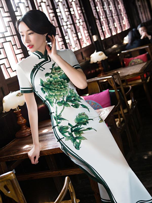 Green Flower Side Split Long Cheongsam - Zebrant