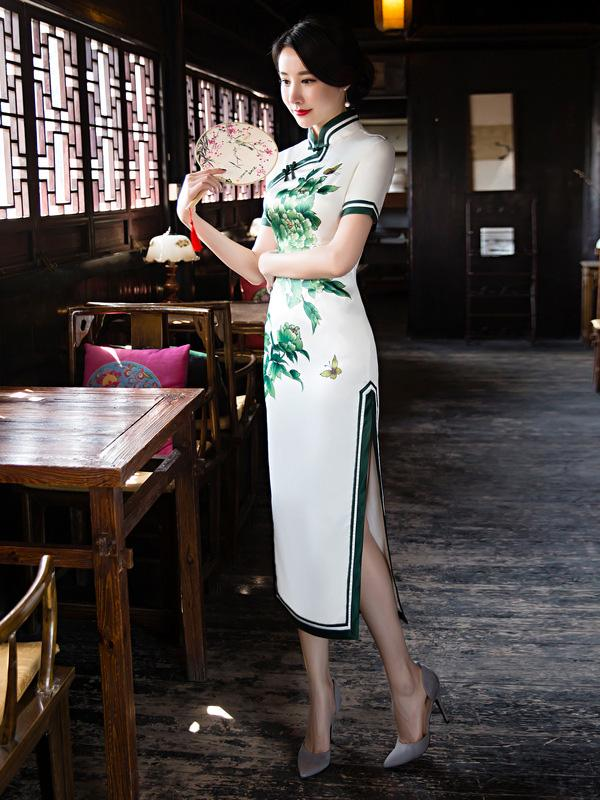 Green Flower Side Split Long Cheongsam