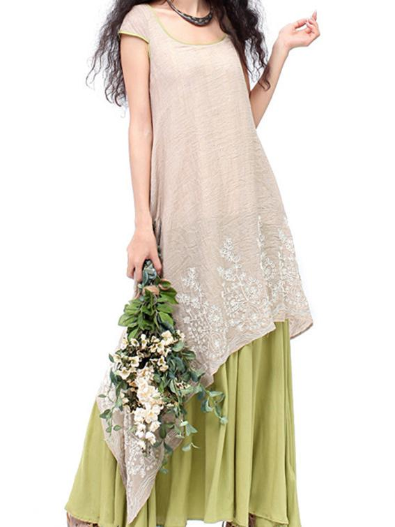 Embroidered Cropped Ramie Cotton Long Dress - Zebrant
