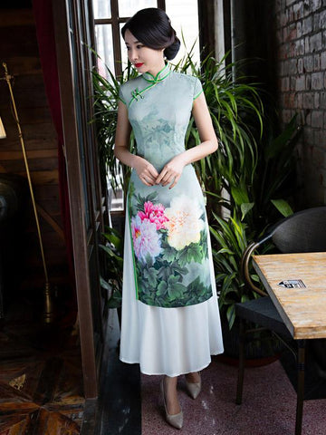 Green Peony Print Split-side Ao Dai Long Cheongsam - Zebrant