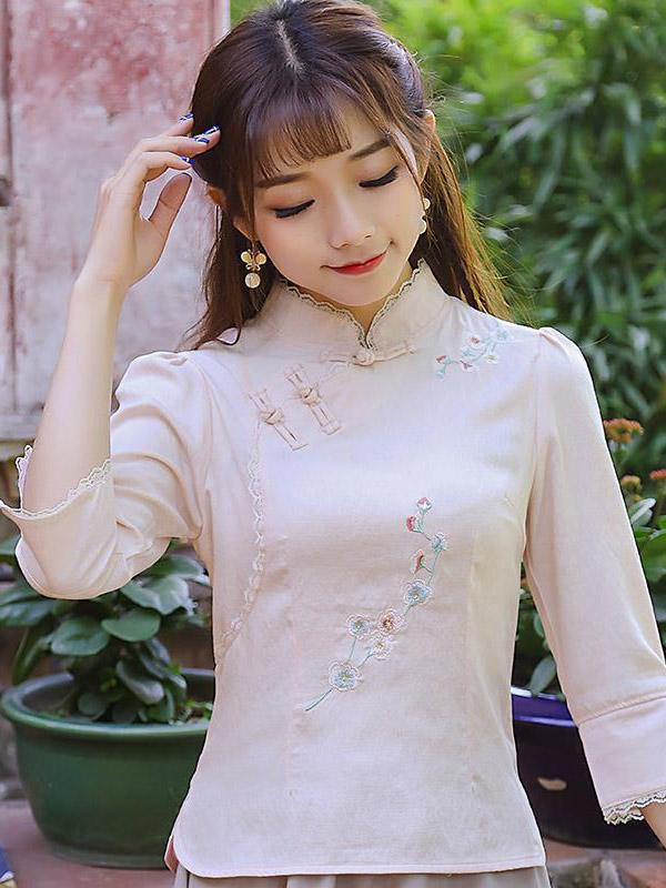 Chinese Traditional Stand Collar Top with Floral Print - Zebrant