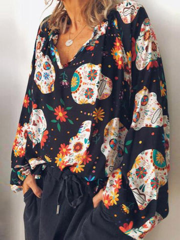 Long-sleeved Casual Printed Blouse - Zebrant