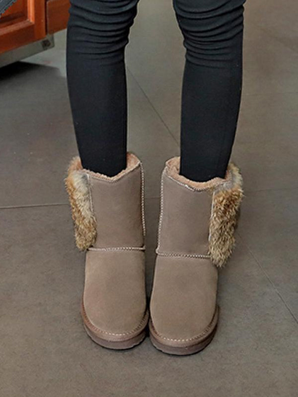 Flat Bottom Fur Snow Boots Uggs - Zebrant