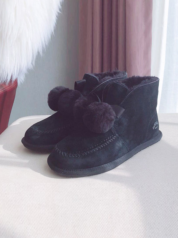 Fur Ball High-Top Wool Snow Boots Uggs - Zebrant