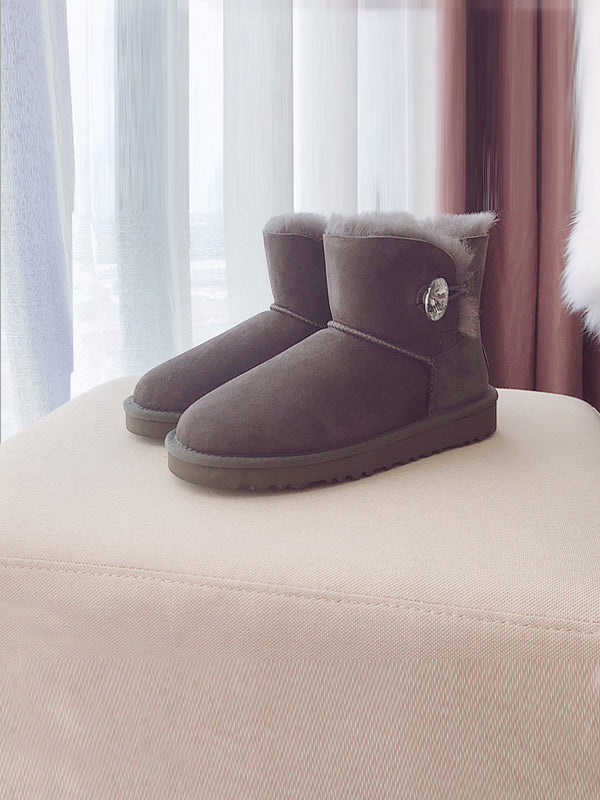 Waterproof Anti-Fouling Artificial Leather Flat Bottom Wool Uggs - Zebrant