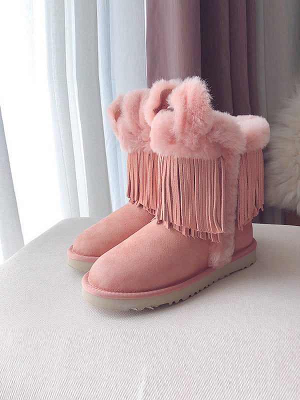 PU Leather Tassel Middle Tube Plus Booties Uggs - Zebrant