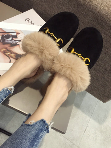 Fashion Artificial Fur Slippers Type Half Drag