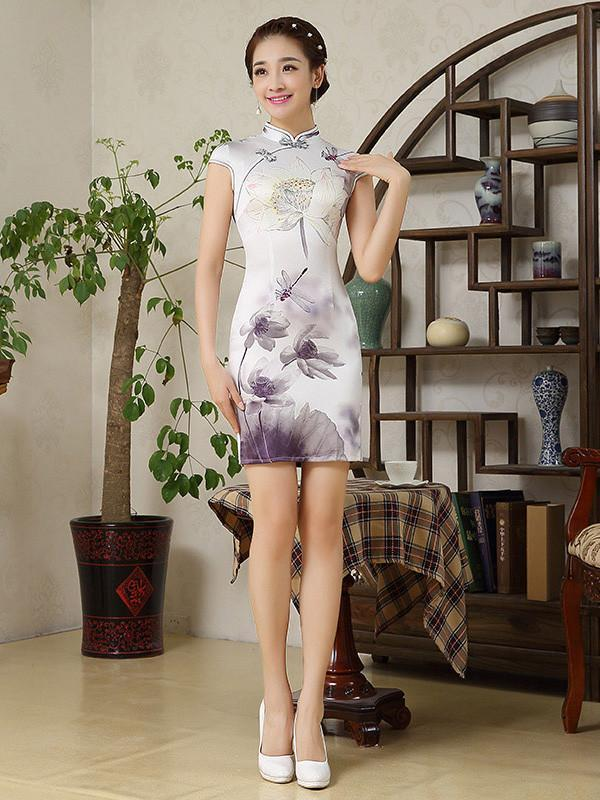 Flower Cap Sleeve Stand Neck Side Split Short Cheongsam - Zebrant