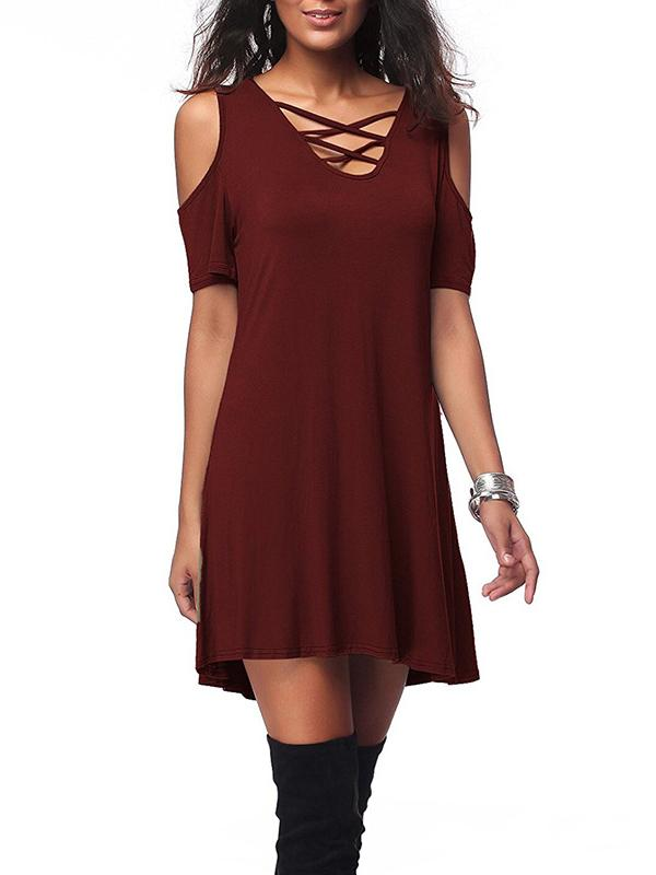 Casual Loose Solid Off-The-Shoulder Mini Dress - Zebrant