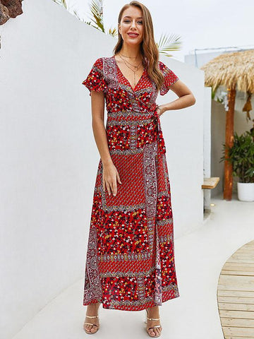 V-neck Short Sleeve Bohemian Dress - Zebrant