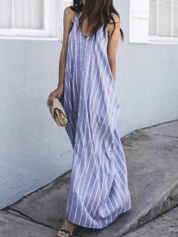 Loosen Sleeveless Long Dress in Blue Color