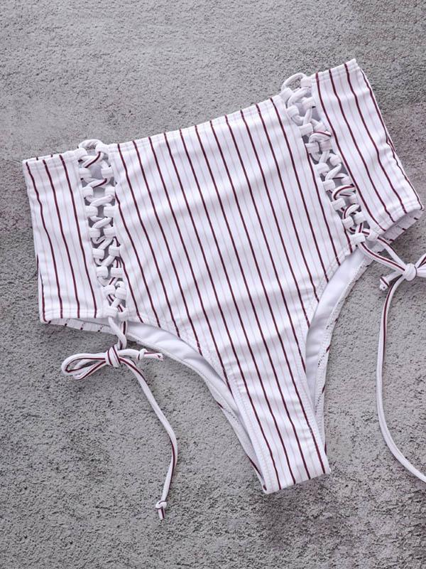 Fashion Stripes High Waisted Adjustable Bikinis Swimwear - Zebrant