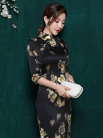 Mulberry Silk Black Floral Split-side Stand-collar Long Cheongsam - Zebrant