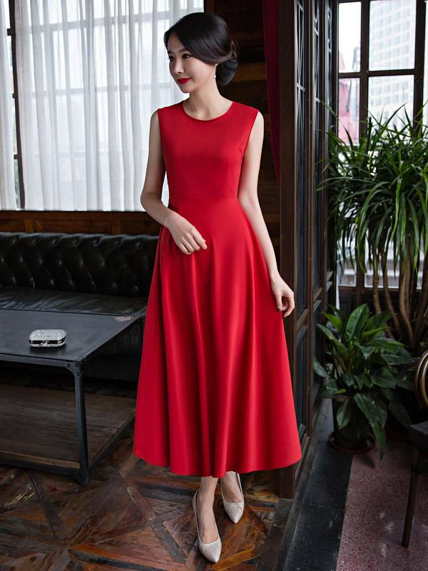 Two Pieces Red Ao Dai Long Cheongsam - Zebrant