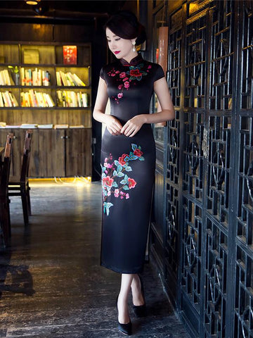 Black Floral Side Split Long Cheongsam - Zebrant