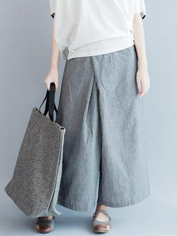 Loose Simple Gray Stripe Designed Pants - Zebrant