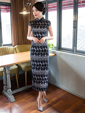 Black Lace Split-side Long Cheongsam - Zebrant