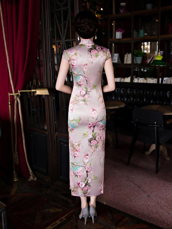 Blossom Stand Collar Long Cheongsam Dress