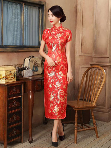 Red Gold-flower Print Split-side Long Cheongsam