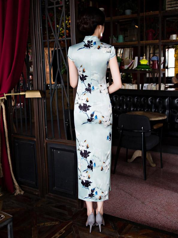 Vintage Print Stand Collar Long Cheongsam Dress - Zebrant