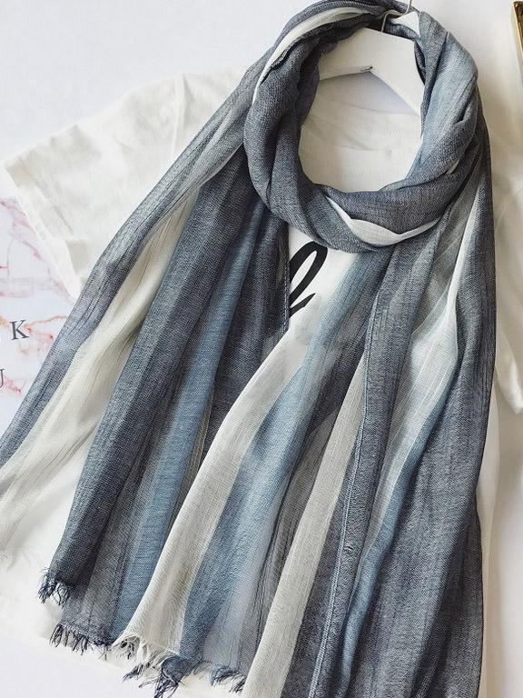 Gradient Striped Sun Protection Shawl Scarf - Zebrant