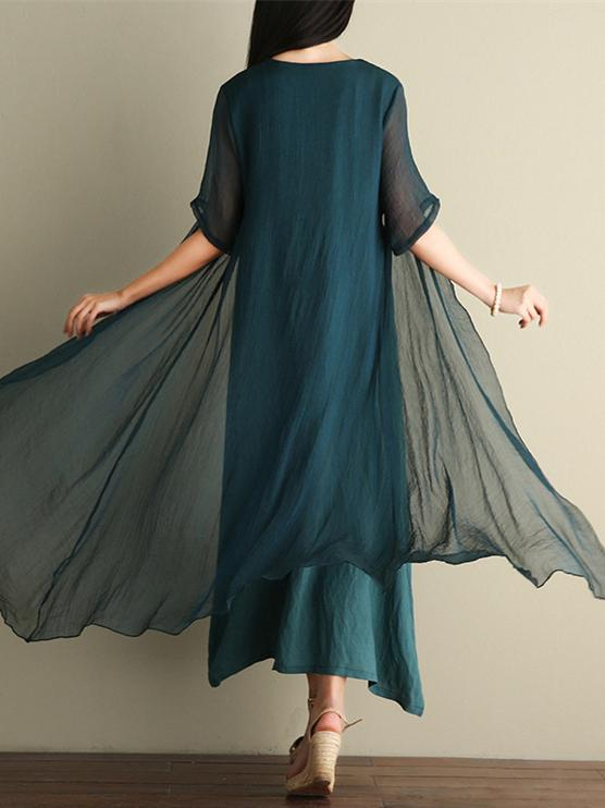 Green Embroidered Ramie Cotton Dress - Zebrant